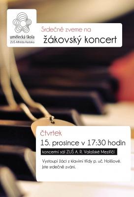 Žákovský koncert klavírní třídy p.uč. Holišové